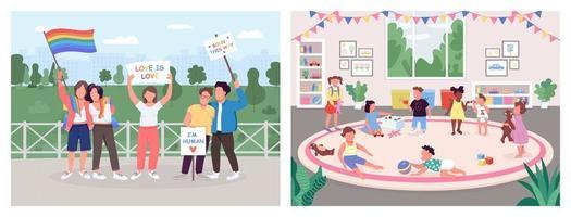 Human activities flat color vector illustration set