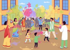 Ilustración de vector de color plano de celebración holi