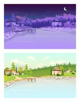 Day and night village flat color vector illustration