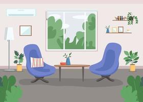 Ilustración de vector de color plano de gabinete de psicoterapia
