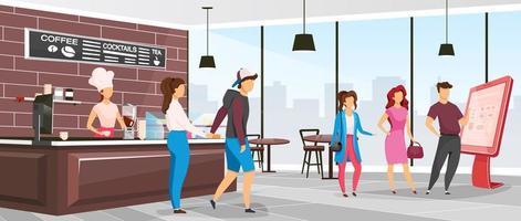 Cafeteria flat color vector illustration