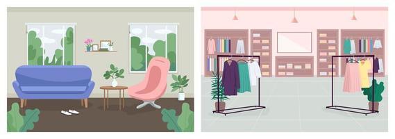 Interior decoration flat color vector illustration set