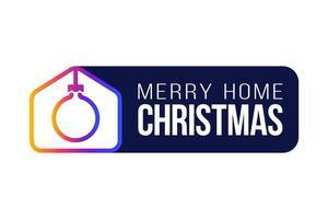 Feliz tarjeta de Navidad 2020 en casa con un divertido icono minimalista vectorial. Quedarse en casa insignia en cuarentena. reacción covid-19.