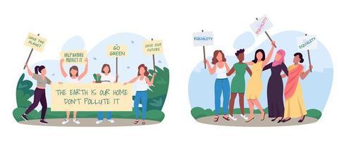 ahorro ecología movimiento progresivo 2d vector web banners, carteles