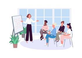 oficina de niña reunión vector de color plano personajes sin rostro
