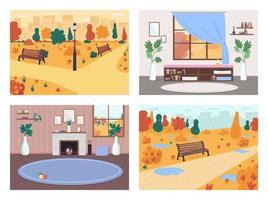 caída en el conjunto de ilustración de vector de color plano de la ciudad