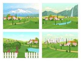 Tuscany scenery flat color vector illustration set