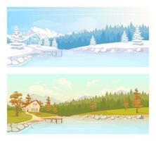 Seasonal countryside scenery flat color vector illustration set