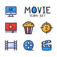 conjunto simple de iconos de contorno de dibujos animados vectoriales relacionados con el cine. contiene íconos como películas 4k, palomitas de maíz, videoclips y más. mano dibujar ilustración vectorial vector