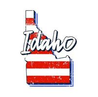 American flag in Idaho state map. Vector grunge style with Typography hand drawn lettering Idaho on map shaped old grunge vintage American national flag isolated on white background