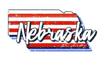 American flag in Nebraska state map. Vector grunge style with Typography hand drawn lettering Nebraska on map shaped old grunge vintage American national flag isolated on white background