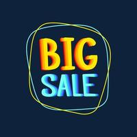 Big sale special offer banner vector illustration. Bright creative design. Happy and funny style. Can be use for kids product discount.