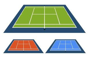 Vector Illustration Set of Tennis Court With Different Surface From the Side Top View.