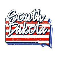 bandera americana en el mapa del estado de dakota del sur. estilo grunge vectorial con tipografía dibujada a mano letras dakota del sur en el mapa en forma de bandera nacional americana vintage grunge antiguo aislado sobre fondo blanco