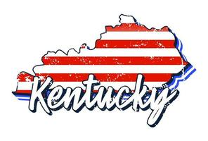 American Flag in Kentucky State Map. Vector Grunge Style With Typography Hand Drawn Lettering Kentucky on Map Shaped Old Grunge Vintage American National Flag Isolated on White Background