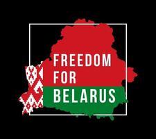 ilustración vectorial la libertad de inscripción para bielorrusia contra el fondo del mapa de la bandera. el símbolo de la libertad bielorrusia. colores nacionales de bielorrusia