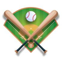 Realistic baseball concept with baseball crossed bat, ball and field. Vector sport illustration