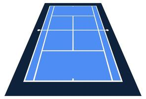Perspective View Vector Illustration of Tennis Court From the Front Top View.