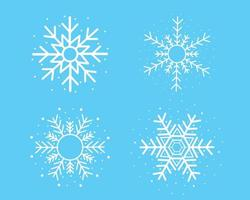 White snowflake set on blue background