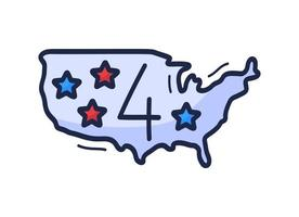 US map icon with the number of July 4 is drawn by hand in cartoon style. Vector illustration for Independence Day in the United States