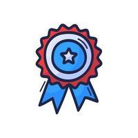 Dibujar a mano la medalla del día del veterano aislada sobre fondo blanco insignia de vacaciones en los colores de la bandera de Estados Unidos. icono, patriótico.