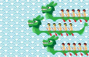 Green dragon boat on blue abstract background vector