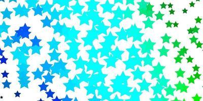Fondo de vector azul claro, verde con estrellas pequeñas y grandes.