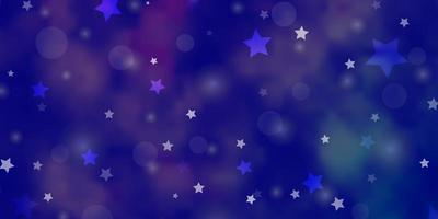 Light Purple vector background with circles, stars.