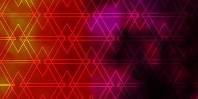 textura de vector rosa claro, amarillo con estilo triangular.