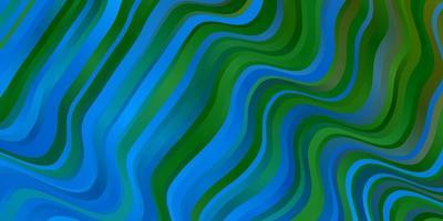 Fondo de vector azul claro, verde con líneas dobladas.
