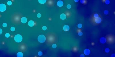diseño de vector azul claro con círculos, estrellas.