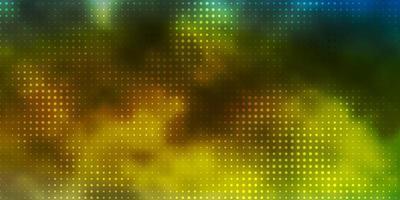 Fondo de vector azul claro, amarillo con círculos.