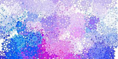 patrón de vector azul claro, rojo con copos de nieve de colores.