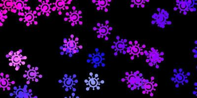 Dark pink, blue vector pattern with coronavirus elements.