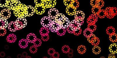 Dark pink, yellow vector background with bubbles.