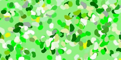 Light green, yellow vector pattern with abstract shapes.