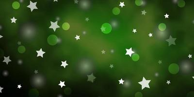 Dark Green vector layout with circles, stars.
