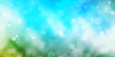 plantilla de vector azul claro, verde con círculos.