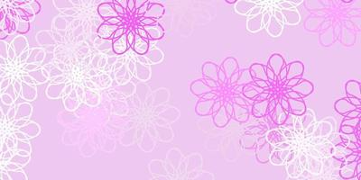 Light Pink vector doodle pattern with flowers.