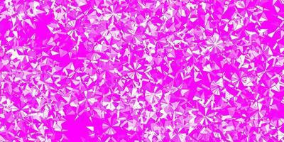 Fondo de vector rosa claro con copos de nieve de Navidad.