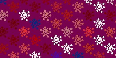 Light Blue, Red vector pattern with coronavirus elements.