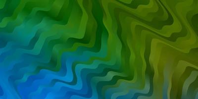 patrón de vector azul claro, verde con líneas curvas.