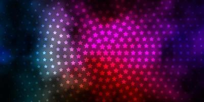 Fondo de vector multicolor oscuro con estrellas pequeñas y grandes.