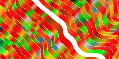 Telón de fondo de vector multicolor claro con líneas dobladas.