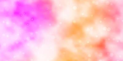 Fondo de vector de color rosa claro, amarillo con estrellas pequeñas y grandes.
