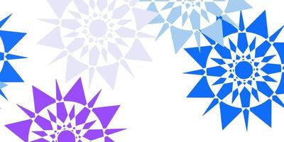 Light pink, blue vector pattern with colored snowflakes.