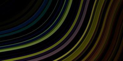 Fondo de vector multicolor oscuro con líneas dobladas.