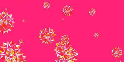 Fondo de vector de color rosa claro, amarillo con copos de nieve de Navidad.