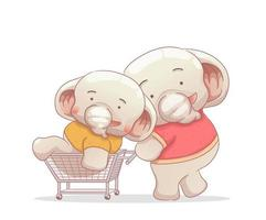 two elephant brothers shopping and having fun vector