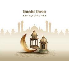 islamic greetings ramadan kareem card design background vector